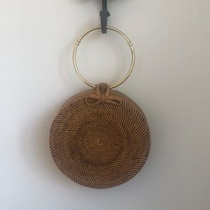 Top handle woven round bag